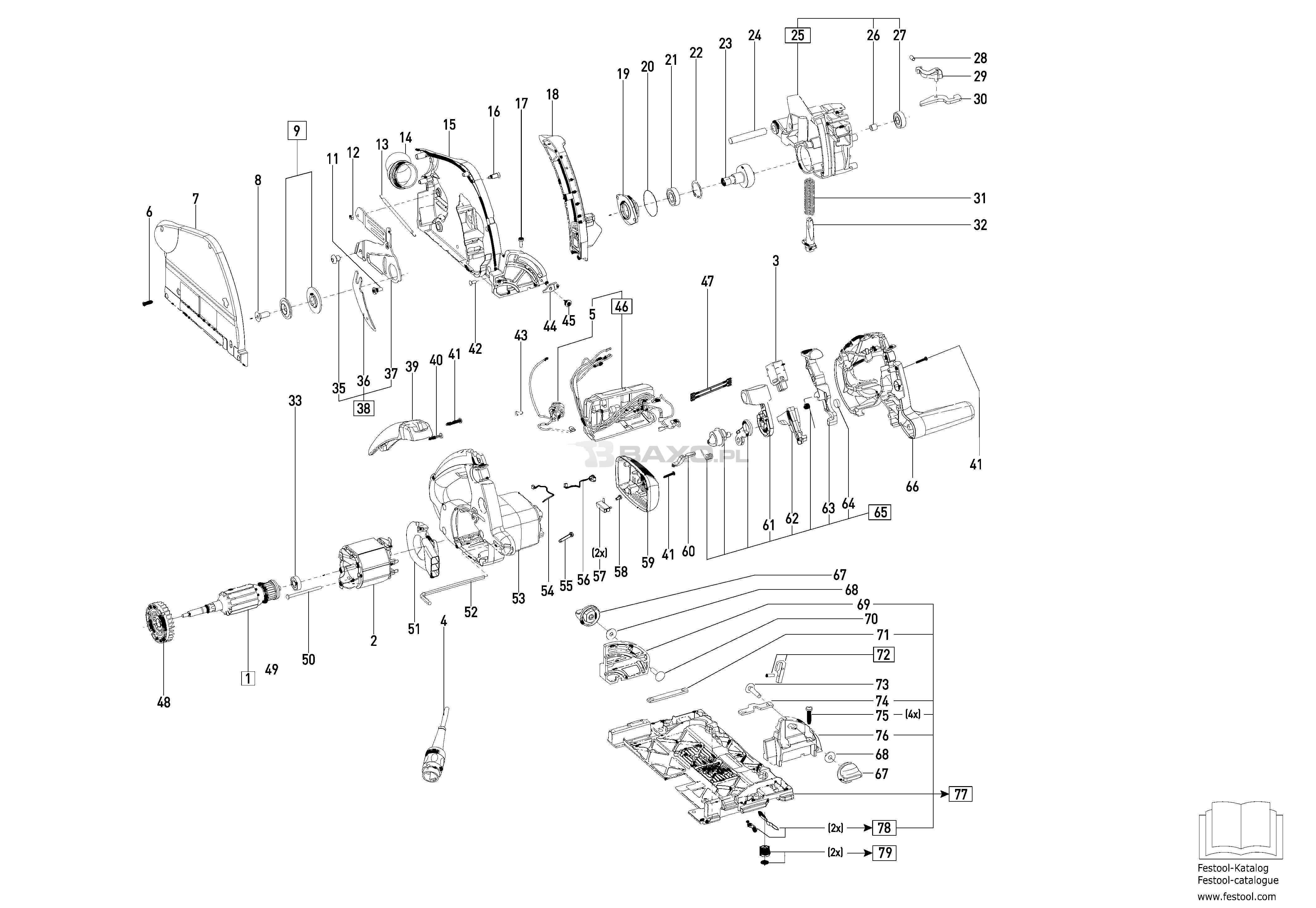 ts 55 ebq 230v, (490436) - festool - części baxo