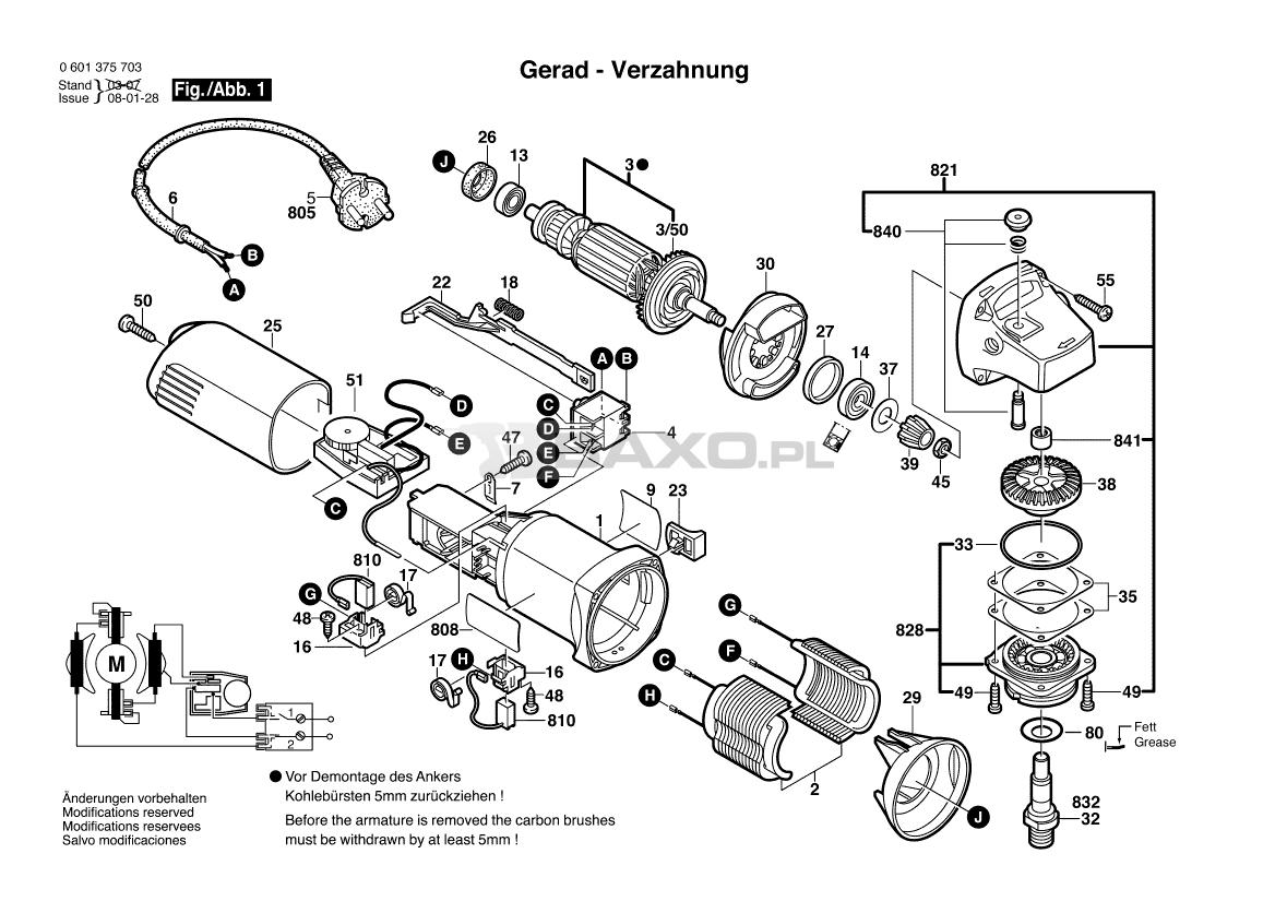 Gws 6 115 E 0601375703 Bosch Części Baxo